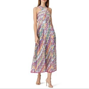 Monique Lhuillier Crossneck Pleated Dress, Size 2